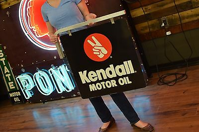 2 Sided Kendall Motor Oil Sign Gas Station Service Advertising NOS unused Garage