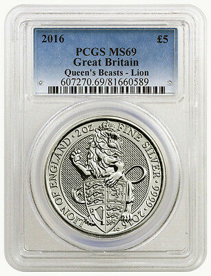 2016 Queens Beasts-Lion Ms-69 2 Ounce Pcgs - Great Britain