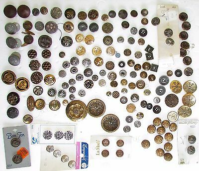 160 Lot Antique/Vtg Metal Brass filigree Hat Coat Crest Coin Victorian Buttons