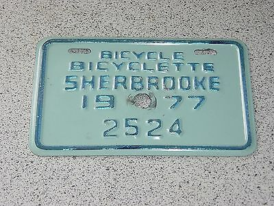 1977 Quebec Canada Sherbrooke Bicycle License Plate 2524 Bicyclette