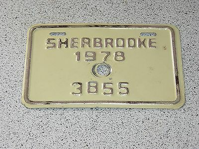 1978 Quebec Canada Sherbrooke Bicycle License Plate 3855 Bicyclette