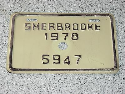 1978 Quebec Canada Sherbrooke Bicycle License Plate 5947 Bicyclette