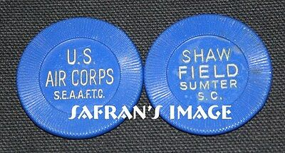Vintage SHAW FIELD US Army AIR CORPS Poker Chip Sumter South Carolina MUST L@@K