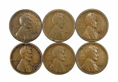 Lot of 6 1923 S 1c Lincoln Wheat Cent Pennies G Good Light Blemishes #107793