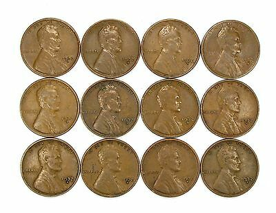 Lot of 12 1932 D 1c Lincoln Wheat Cent Pennies VF Very Fine / VF+ #107179