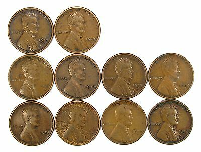 Lot of 10 1927 S 1c Lincoln Wheat Cent Pennies VF Very Fine / VF+ #107123