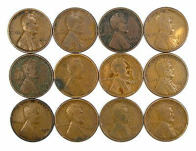 Lot of 21 1927 S 1c Lincoln Wheat Cent Pennies VG Very Good #106860