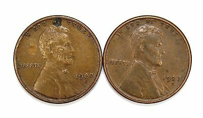 Lot of 2 1927 S 1c Lincoln Wheat Cent Pennies XF Extra Fine / XF+ #106851