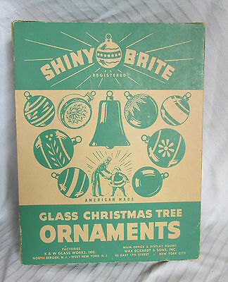 1950s Box of Shiny Brite Christmas Glass Ornaments Set of 12 Painted Balls