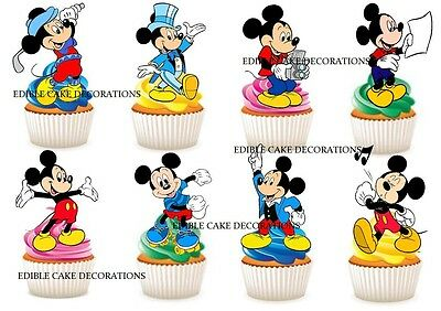 30 Mickey Mouse Edible Birthday Party Cupcake Toppers 3.8cm Round
