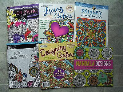 Lot Of 6 NEW Adult Coloring Books Different Designs