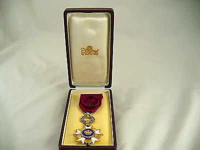 Vintage Belgian Belgium Order of the Crown medal with ribbon and box
