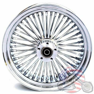 16 3.5 48 Fat Spoke Front Wheel Chrome Rim Dual Disc Harley Softail Touring