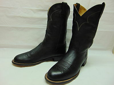 Mens 10.5 D Nocona Black Calf Leather Pull On Western Cowboy Riding Rodeo Boots
