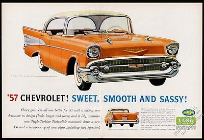 1957 Chevy Bel Air BIG orange car illustrated Chevrolet vintage print ad