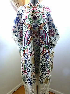 Mexican Wool Poncho Embroidered Blanket Coat Serape Aztec COLORFUL PEACOCKS