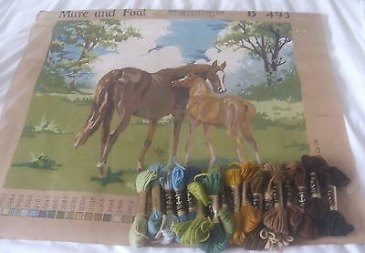 Large Penelope Tapestry Canvas : Mare & Foal : Please read description