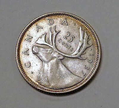{BJSTAMPS} 1937 CANADA 25 Cents .800 SILVER Die Break  AU