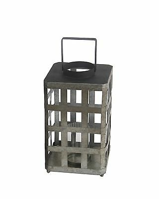 Industrial Raw Metal and Glass Candle Lantern 17 1/2 Inches Tall