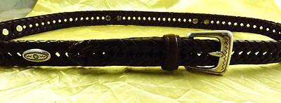 Vintage Retro FOSSIL Braided Leather with Southwestern Silver Motif Belt Size L