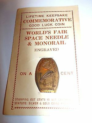 Seattle World's Fair  Monorail  ELONGATED PENNY on Card