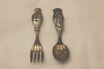 Reed & Barton Baby Spoon & Fork Monkey Parrot Never used Tarnished