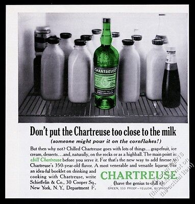 1965 Chartreuse liqueur green bottle in refrigerator photo vintage print ad