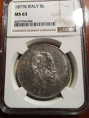 Italy Kingdom 1877-R  5 Lire Silver Coin Choice Uncirculated Ngc Certified Ms-63