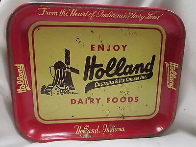 Vintage Holland Dairy Indiana Metal Serving Tray Milk Ice Cream Advertising