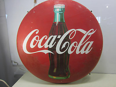 "1950's Coca Cola Button 24"" Sign w/Mounting Bracket"