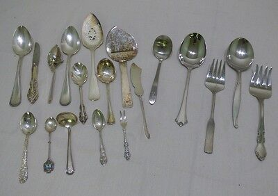 Silver AA E.P.N.S Lot Assorted Serving Pieces Spoons, Cheese Slicer Etc.