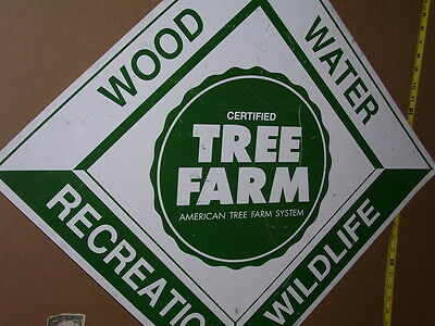 TREE FARM Wood Water Recreation Wildlife -Diamond Shaped -GIANT SIZE Forest SIGN