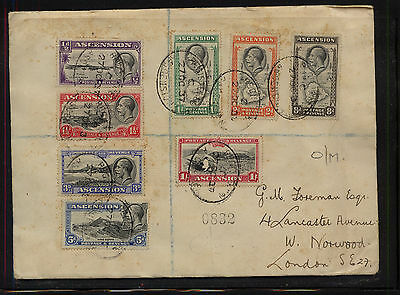Ascension Island  23-30 on registered cover to England  1937   APL0302