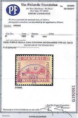 "Hawaii #81 Rare Hauula Town Cancel Pf Certificate ""genuine"" Only 7 Known"