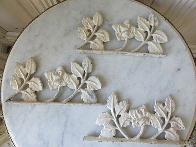 3 STUNNING Salvaged Architectural Metal FRAGMENTS ROSES Chippy White Patina