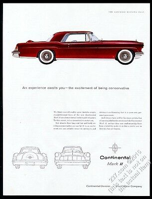 1956 Lincoln Continental Mark II red car pic vintage print ad