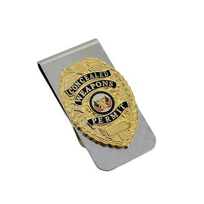 CWP CCW Concealed Weapons Carry Permit Mini Badge Money Clip Chrome NEW CCL