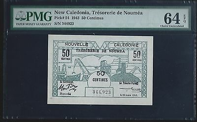 New Caledonia 1943, 50 Centimes , P54, PMG 64 EPQ  CHOICE UNC