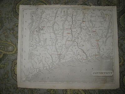 Important Early Antique 1805 Connecticut Copperplate Map New Haven Litchfield Nr