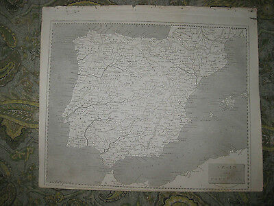 Fine Antique 1805 Spain Portugal Arrowsmith And Lewis Copperplate Map Rare Nr