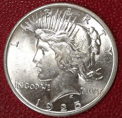 **better Date***1925 P Peace Silver Dollar Bu #b219