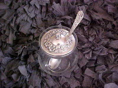 Stieff Etched Glass Sugar/condiment Bowl & Sterling Repousse Rose Cover & Spoon