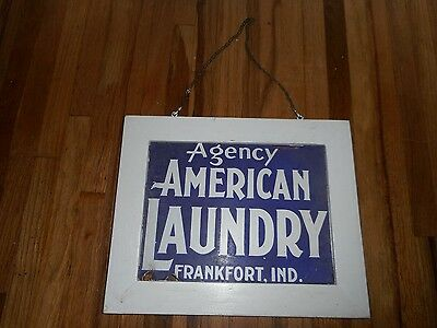 Vintage 1930s 2-Sided PORCELAIN American Laundry Advertising SIGN FRANKFORT IN