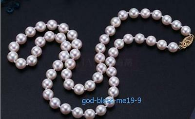 Elegant AAA++ 6mm real natural south sea white round pearl necklace 20Inch 14k