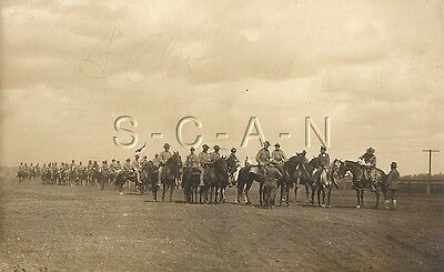 WWI Original Army AZO RPPC- Cavalry- Horse- Mounted Troopers- Guide On Flag