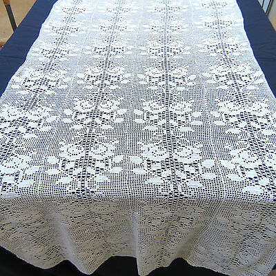 Crochet Lace Off White Cotton Rose Table Runner Dresser Scarf 30x80""
