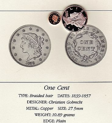 1839 One Cent 1c Franklin Mint Miniature Copper Coin Cameo Proof