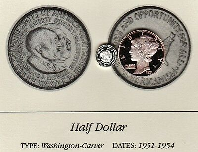 1952 Washington-Carver 50c Franklin Mint Miniature Sterling Silver Proof Coin