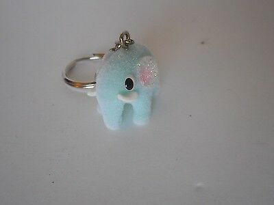 Adorable! key chain backpack purse decoration accessory flocked blue elephant