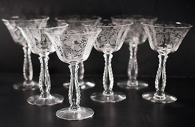 Fostoria Heather Tall Champagne Sherberts Glasses Goblets Lot of 7